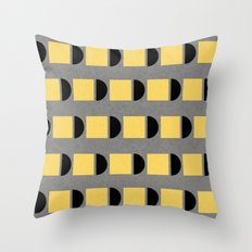 shapes in yellow, grey and black Throw Pillow