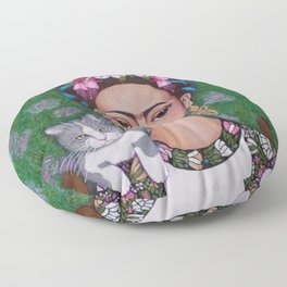 Frida cat lover closer Floor Pillow