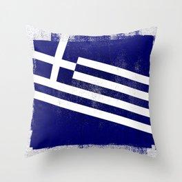 Greek Distressed Halftone Denim Flag Throw Pillow