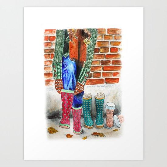 Autumn shoes Art Print