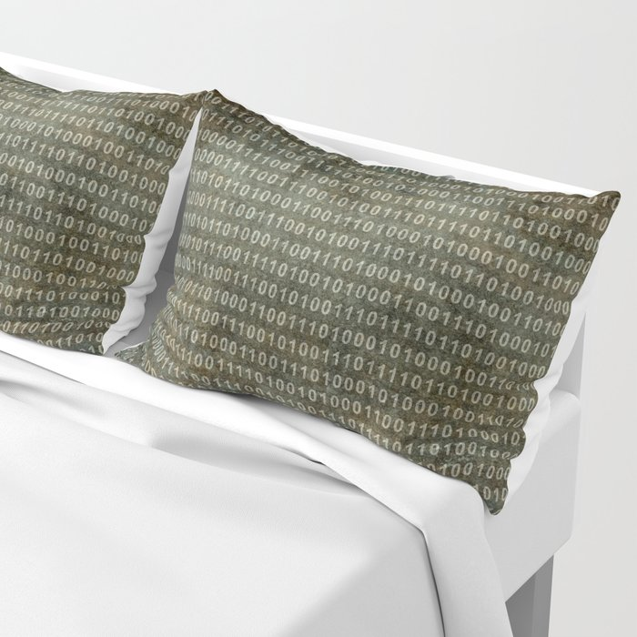 Binary Code with grungy textures Pillow Sham
