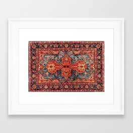 Kashan Poshti Central Persian Rug Print Framed Art Print