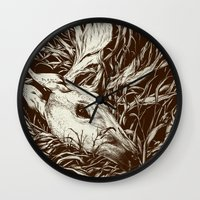scary Wall Clocks featuring doe-eyed by Teagan White