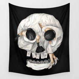 Tarot Reader Girl - Optical Illusion Skull Wall Tapestry