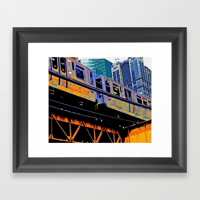 Chicago \'L\' in multi color: Chicago photography - Chicago Elevated train  Framed Art Print by thecheekypixel