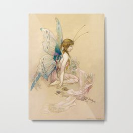 """""""There May Be Fairies"""" Art by Warwick Goble Metal Print"""