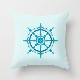 AFE Ship Wheel Teal, Nautical Art Print Throw Pillow