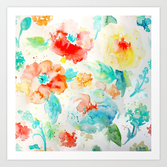 Abstract Flowers 02 Art Print