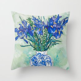 Iris Bouquet in Chinoiserie Vase on Blue and White Striped Tablecloth on Painterly Mint Green Throw Pillow
