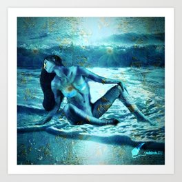 Lady in blue Art Print