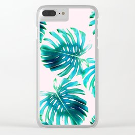 Monstera deliciosa - tropical pink Clear iPhone Case