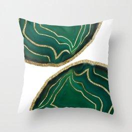 Emerald Agate Gold Glam #1 #gem #decor #art #society6 Throw Pillow