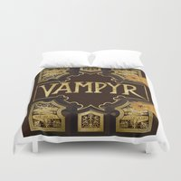buffy the vampire slayer Duvet Covers featuring Vampyr Book -- Buffy the Vampire Slayer by BovaArt
