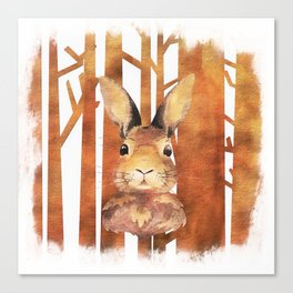 Fast Rabbit in the forest - abstract Hare watercolor Illustration Canvas Print