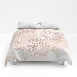 Rose Gold Mandala Marble Comforters
