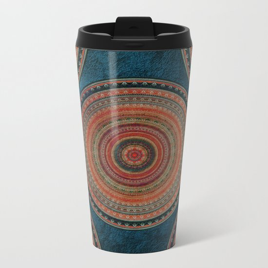 Earth Tone Colored Mandala Metal Travel Mug