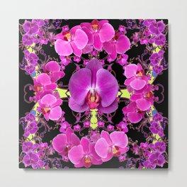 Purple  Butterfly Orchids Pattern Fantasy Yellow Black Art Metal Print
