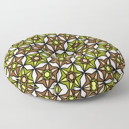 Olive Green, Brown and White Geometric Retro Pattern Floor Pillow