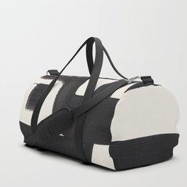 Mid Century Modern Minimalist Abstract Art Brush Strokes Black & White Ink Art Alien Symbol Pattern Duffle Bag
