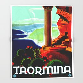 Vintage Taormina Italy Travel Throw Blanket