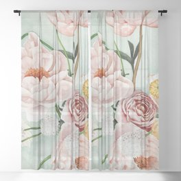 Blue Oval Peonies & Poppies Sheer Curtain