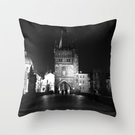 on the way black and white Throw Pillow