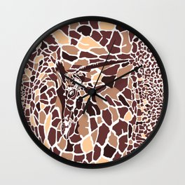 Abstract texture of giraffe and leopard Wall Clock