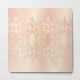 Art Deco Delicate Rose Gold Pattern Metal Print