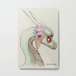 Dragon and Flowers II Illustration Art Cartoon Mythical Fantasy Pastel Metal Print
