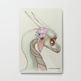 Dragon and Flowers II Illustration Art Cartoon Mythical Fantasy Pastel Metal Print