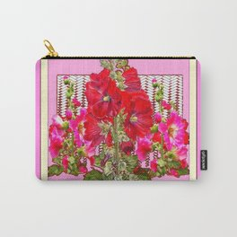 MODERN ART RED & PINK  HOLLYHOCKS BOTANICAL  PATTERNS Carry-All Pouch