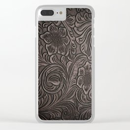 Distressed Smoky Tooled Leather Clear iPhone Case