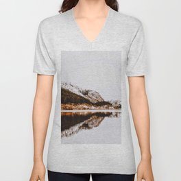 Reflective Mountain Lake Unisex V-Neck