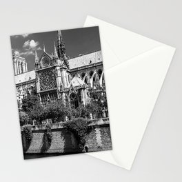 Notre Dame, Paris, France Ile de la Cite black and white photograph / black and white photography Stationery Cards