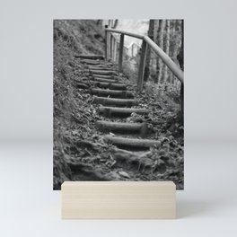 Wooden stairs, black and white photo Mini Art Print