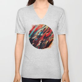 64 Watercolored Lines Unisex V-Neck