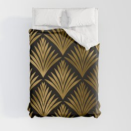 Luxurious Black and Gold Art Deco Elegant Pattern Duvet Cover