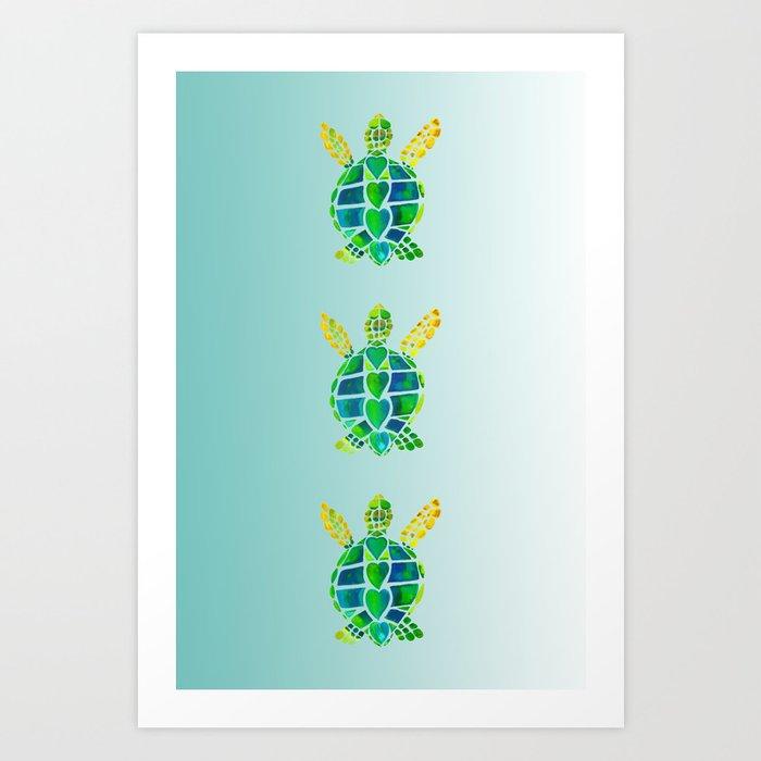 Swimming Baby Sea Turtles Art Print