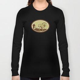Horse and Farmer Plowing Farm Oval Retro Long Sleeve T-shirt