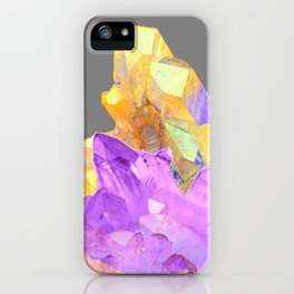 BOHO YELLOW & PURPLE QUARTZ CRYSTALS GREY ART iPhone Case