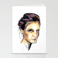 emma watson Stationery Cards featuring Emma Watson by caffeboy