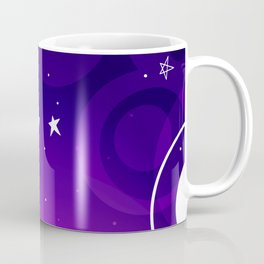 Outer Space Darker Purple Version/ Moon, Stars, Planets  Simple Shapes Design/Stardom Lovers Coffee Mug