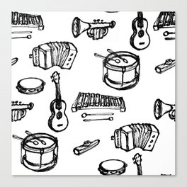Toy Instruments, Black and White Canvas Print