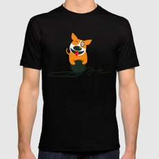 DOG PLAYING Mens Fitted Tee Black MEDIUM