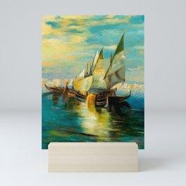 Scene with Sailboats landscape by Robert Rafailovich Falk Mini Art Print