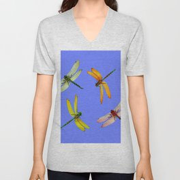 COLORFUL DRAGONFLIES IN BLUE SKY  DESIGN Unisex V-Neck