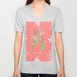 Namaste Floral Hands Unisex V-Neck
