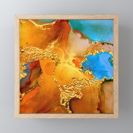 Sophisticated Glitter Gold and Blue Abstract Paint Texture Framed Mini Art Print