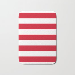 Chinese red - solid color - white stripes pattern Bath Mat