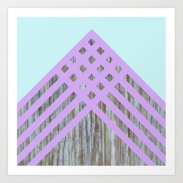 Turquoise & Purple Criss Cross Wood Art Print